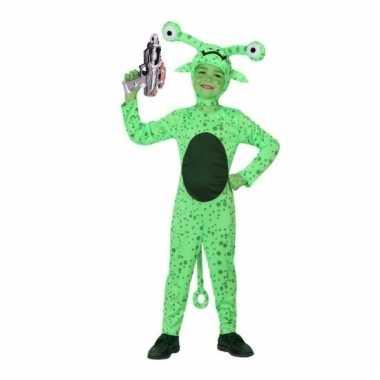 Groen alien pak space gun maat 140
