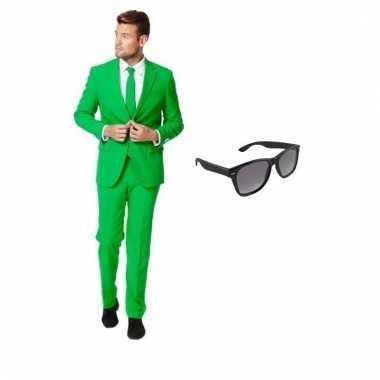 Verkleed groen net heren pak maat 52 (xl) gratis zonnebril