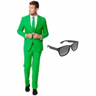 Verkleed groen net heren pak maat 56 (xxxl) gratis zonnebril